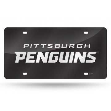 Pittsburgh Penguins Black Laser License Plate