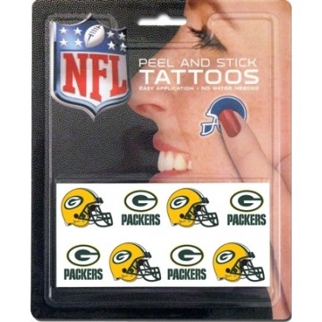 Green Bay Packers 8-PC Peel And Stick Tattoo Set