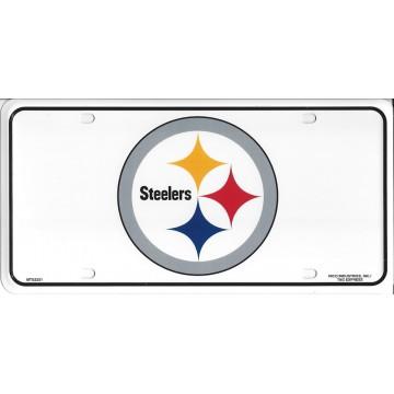 Pittsburgh Steelers White Metal License Plate
