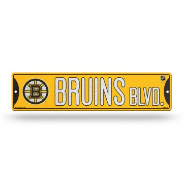 Boston Bruins Glitter Plastic Street Sign