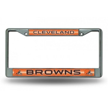 Cleveland Browns Glitter Chrome License Plate Frame