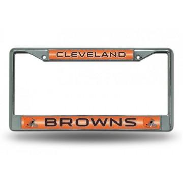 Cleveland Browns Glitter Chrome License Plate Frame