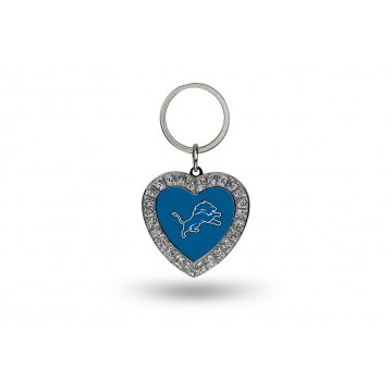 Detroit Lions Bling Rhinestone Heart Keychain