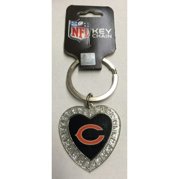 Chicago Bears Bling Rhinestone Heart Key Chain