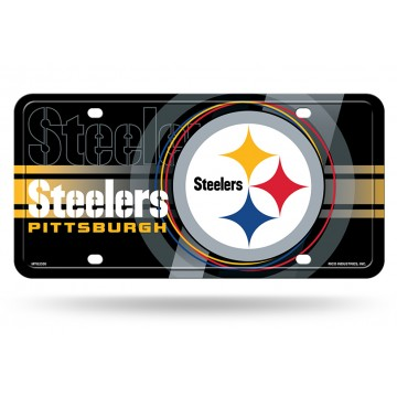 Pittsburgh Steelers Black Circle Design Metal License Plate