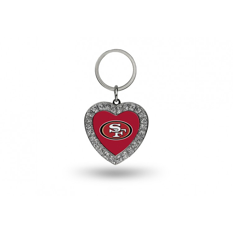 San Francisco 49ers Bling Rhinestone Heart Key Chain
