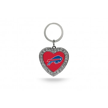 Buffalo Bills Bling Rhinestone Heart Keychain