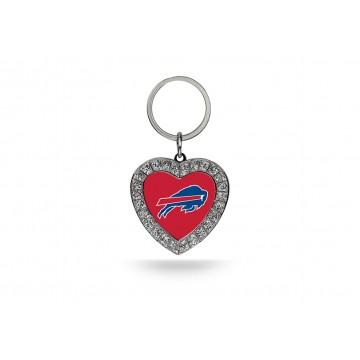 Buffalo Bills Bling Rhinestone Heart Keychain