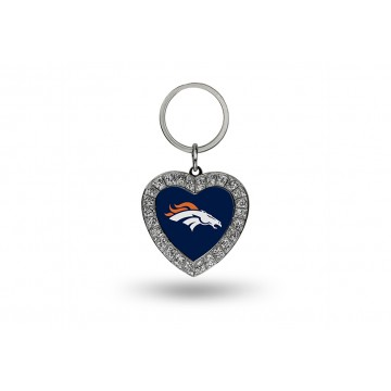 Denver Broncos Bling Rhinestone Heart Key Chain