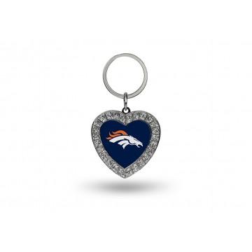 Denver Broncos Bling Rhinestone Heart Key Chain