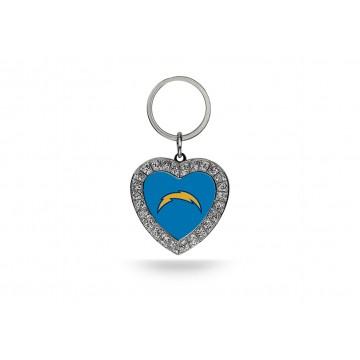 San Diego Chargers Bling Rhinestone Heart Key Chain