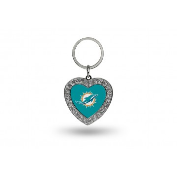 Miami Dolphins Bling Rhinestone Heart Key Chain