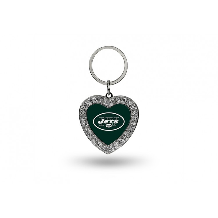 New York Jets Bling Rhinestone Heart Key Chain