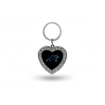 Carolina Panthers Bling Rhinestone Heart Key Chain