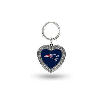 New England Patriots Bling Rhinestone Heart Key Chain