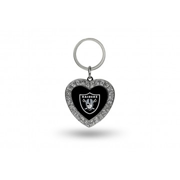 Oakland Raiders Bling Rhinestone Heart Key Chain