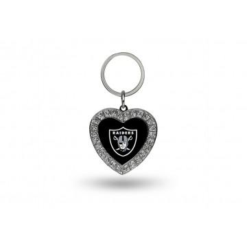 Oakland Raiders Bling Rhinestone Heart Key Chain