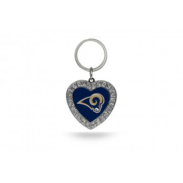 Los Angeles Rams Bling Rhinestone Heart Keychain