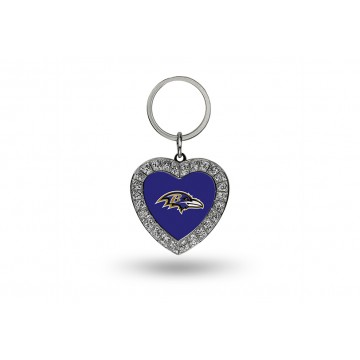 Baltimore Ravens Bling Rhinestone Heart Key Chain