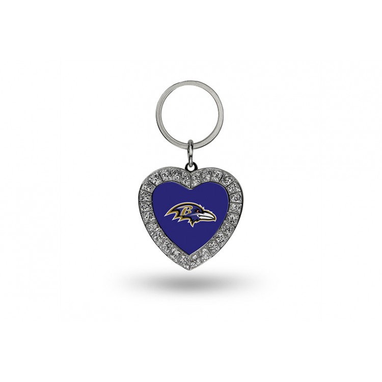 Baltimore Ravens Bling Rhinestone Heart Key Chain