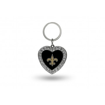 New Orleans Saints Bling Rhinestone Heart Key Chain