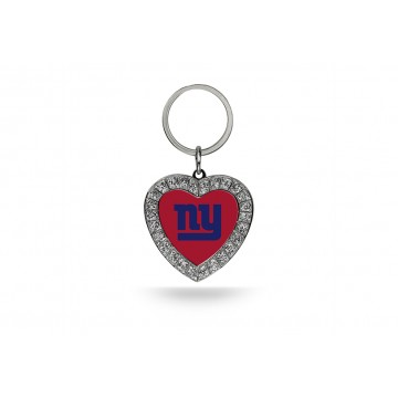 New York Giants Bling Rhinestone Heart Keychain