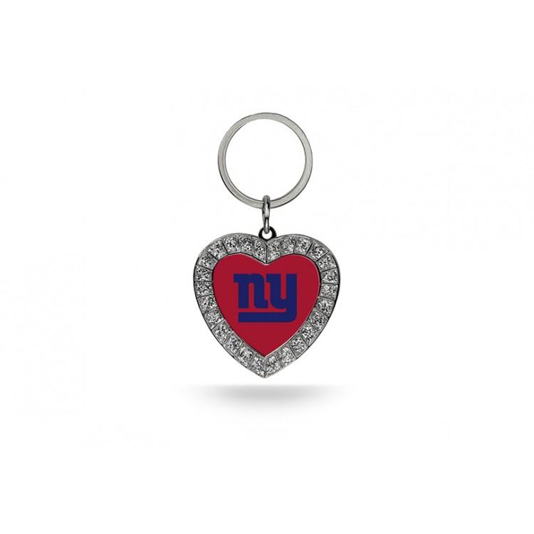 New York Giants Bling Rhinestone Heart Keychain