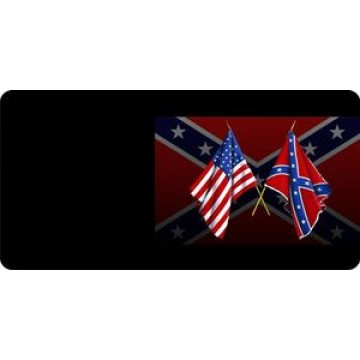 Confederate And US Flag Crossed With Black Rebel Photo License Plate