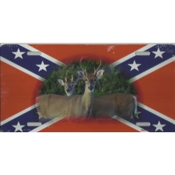 Confederate Rebel Flag With Deer Metal License Plate