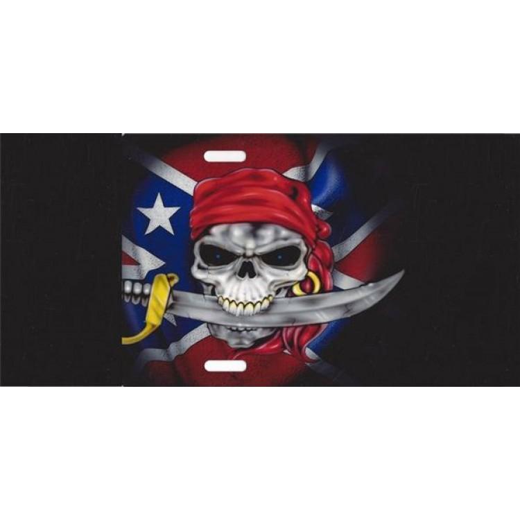 Rebel Skull On Black Photo License Plate