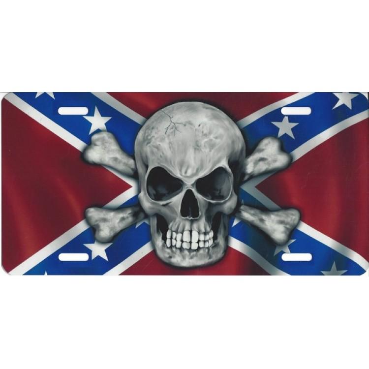 Rebel Skull Photo License Plate
