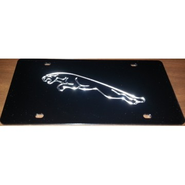 Black Jaguar Laser License Plate