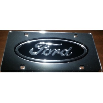 Ford Black Logo On Silver Laser License Plate
