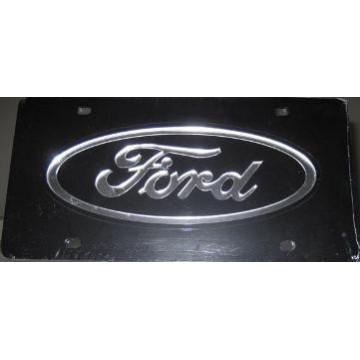 Ford Logo On Black Laser License Plate