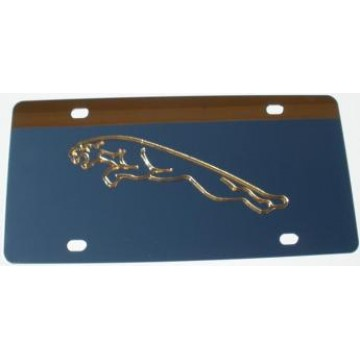 Jaguar Gold Logo Stainless Steel License Plate