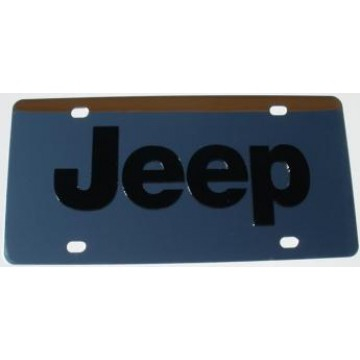 Jeep Black Logo Stainless Steel License Plate