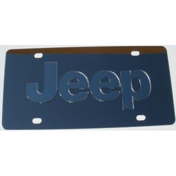 Jeep Silver Logo Stainless Steel License Plate