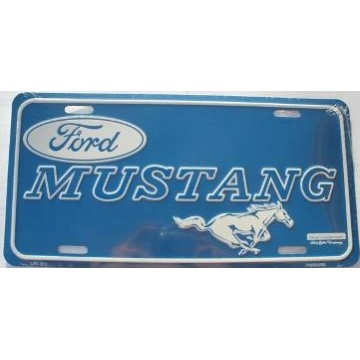 Ford Mustang Blue Metal License Plate