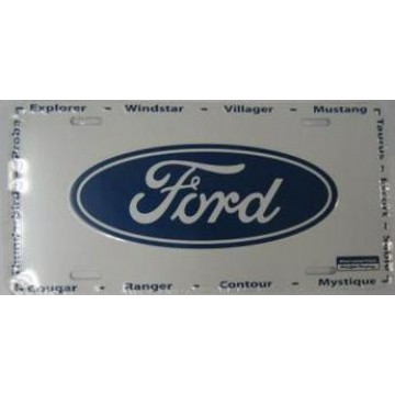 Ford Oval On White Metal License Plate