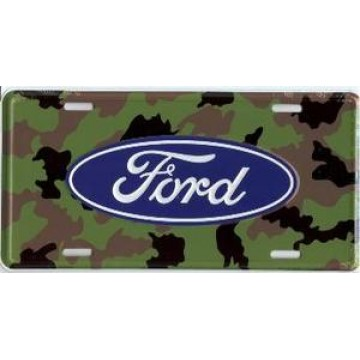 Ford Oval Logo Camo Metal License Plate