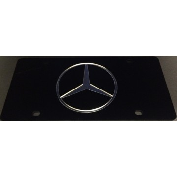 Black Mercedes With Silver Logo Laser License Plate