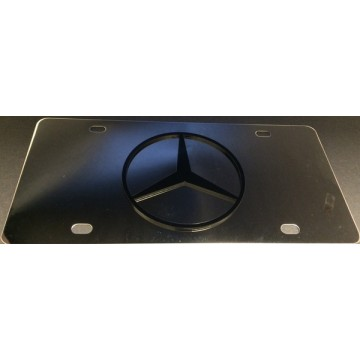 Mercedes Black Logo Stainless Steel License Plate