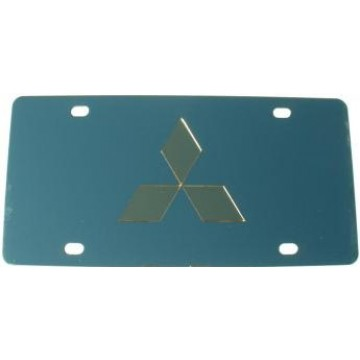 Mitsubishi Gold Logo Stainless Steel License Plate