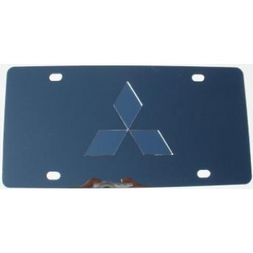 Mitsubishi Silver Logo Stainless Steel License Plate