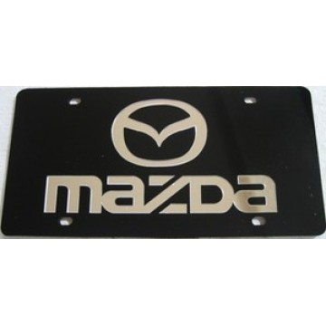 Mazda Silver On Black Laser License Plate