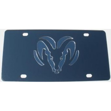 Dodge Ram Silver Logo Stainless Steel License Plate