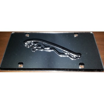 Silver Jaguar Laser License Plate