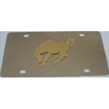 Mustang Gold Stainless Steel License Plate