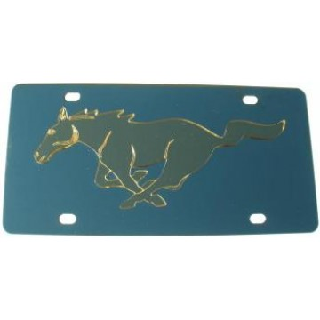 Mustang Gold Logo Stainless Steel License Plate