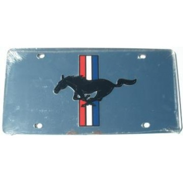 Mustang Silver Laser License Plate